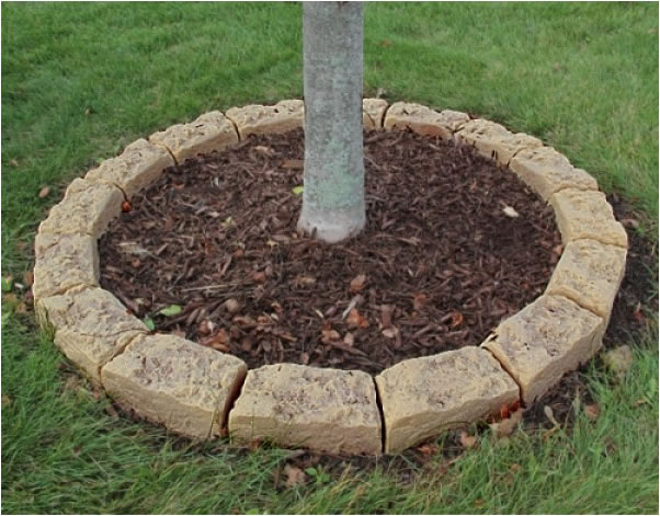 Edging stones for tree rings and landscaping simulated rock for Faux brick edging