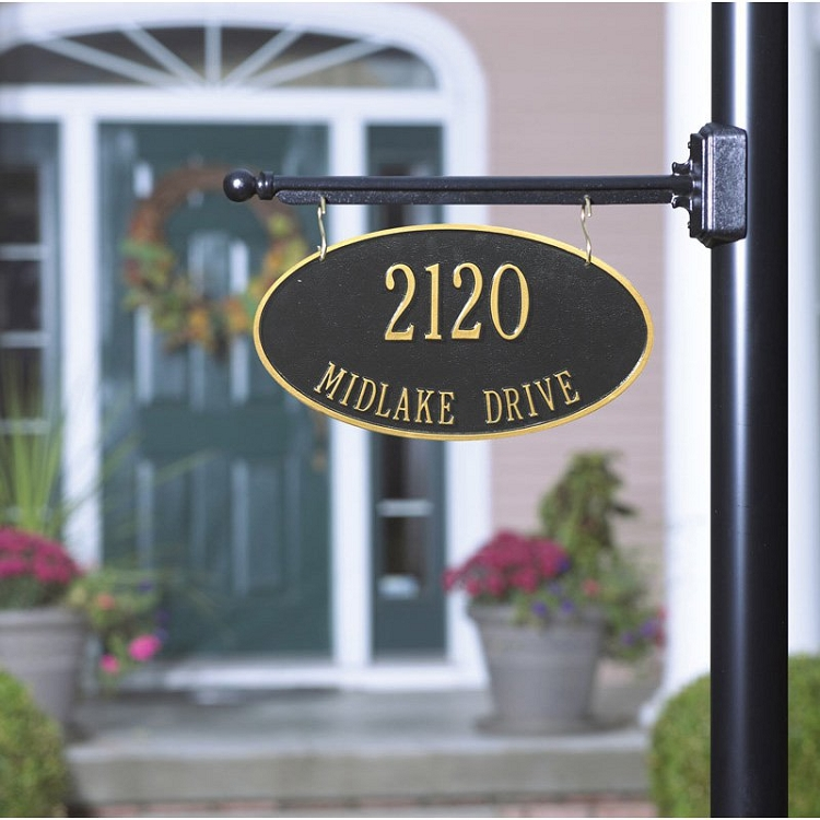 Two Sided Hanging Oval Address Plaque 2 Line