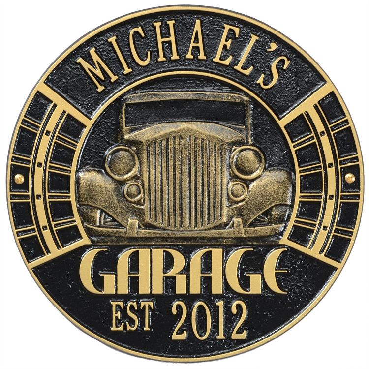 Vintage car address plaque for Plaque garage w