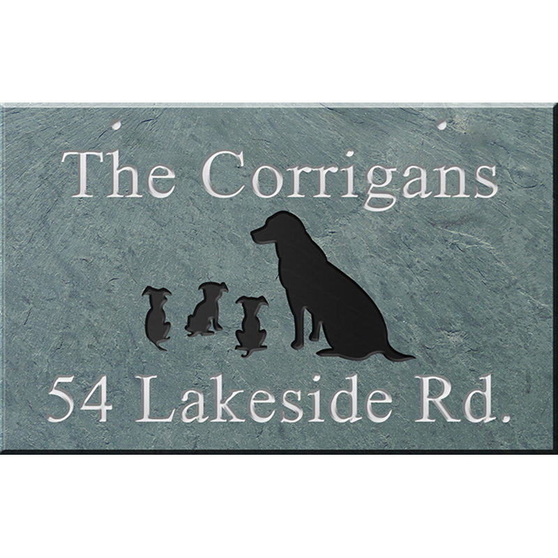 Hanging Slate Address Plaque 12 X 19 Dogs