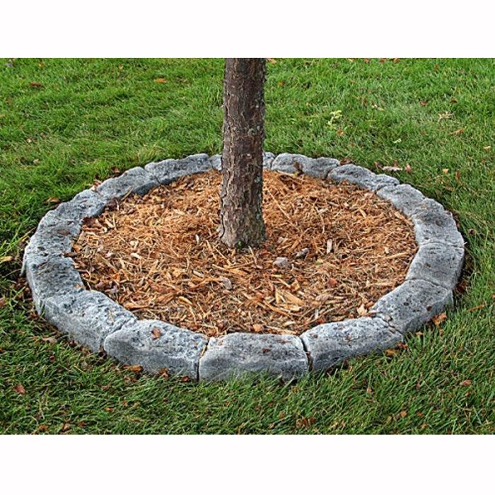 Edging stones for tree rings and landscaping simulated rock for Grey stones for landscaping