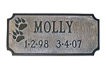 Dog Memorial Plaque, Two Paws