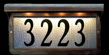 Illuminated Address Tiles In Bronze Frame Estate