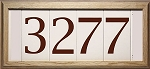 4 Inch House Numbers on Tile in Oak Frame