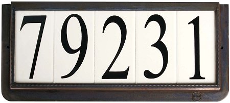 4 inch house numbers on ceramic tile in bronze frame for House number frames