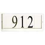 4 Inch House Numbers on Ceramic Tile in White Frame