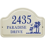 Ceramic Address Plaque Palm Trees 3 Line
