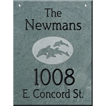 Hanging Slate Address Plaque  12 x 16, Dolphins