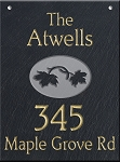 Hanging Slate Address Plaque  12 x 16, Leaves