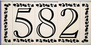 4 inch house numbers on ceramic tile in open classic font for Classic house number fonts