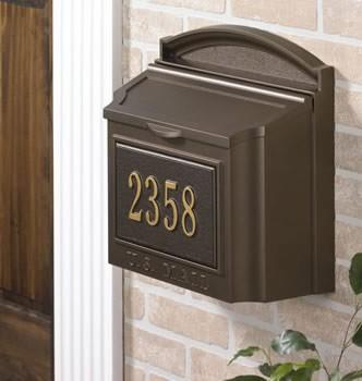 Whitehall Wall Locking Mailbox Personalized Bronze