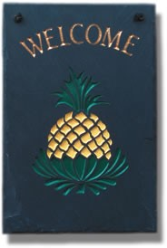 Pineapple Welcome Plaque Hand Painted