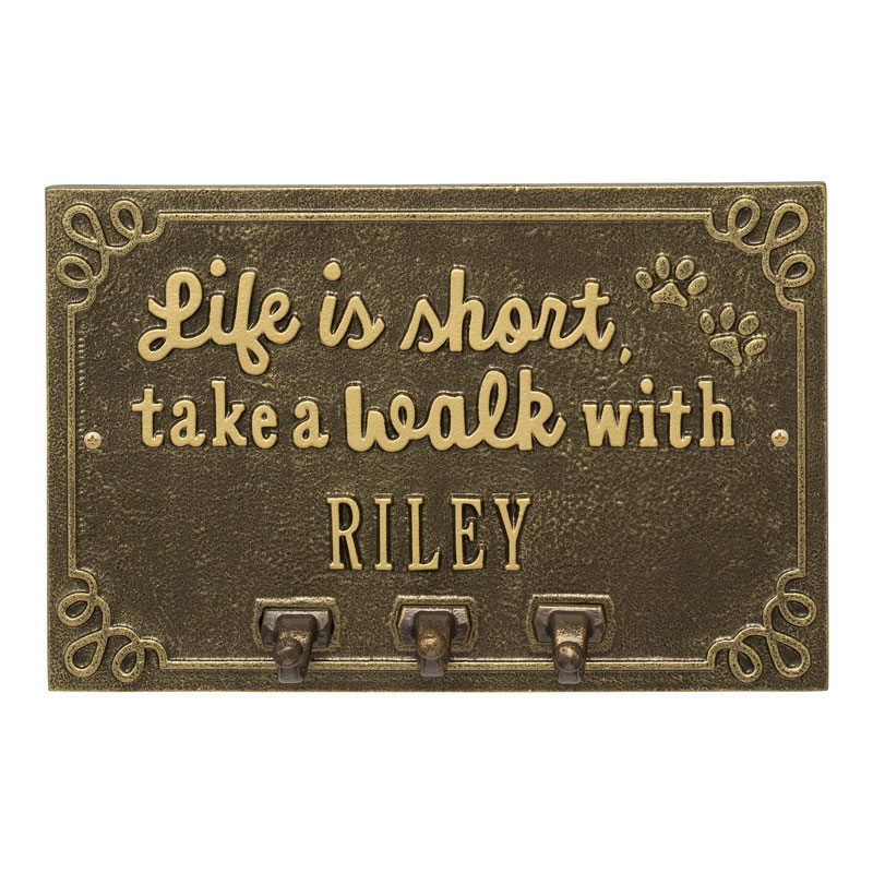 Life is Short Take a Walk Personalized Wall Sign with Leash Hooks