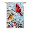 Winter Cardinals Suede House Flag