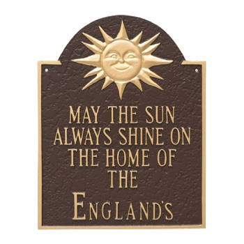 Home Of (Family Name) Wall Plaque With Sunshine