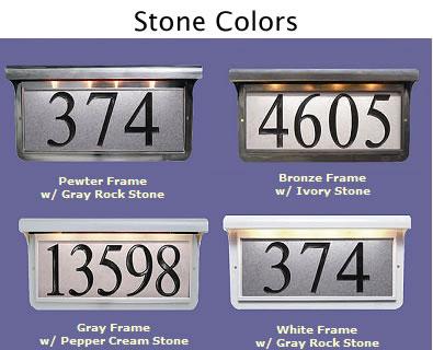Illuminated Address Plaque Ivory Stone In Bronze Frame