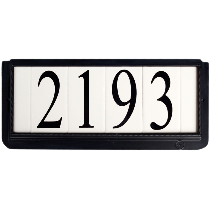 4 Inch House Numbers on Ceramic Tile in Black Frame