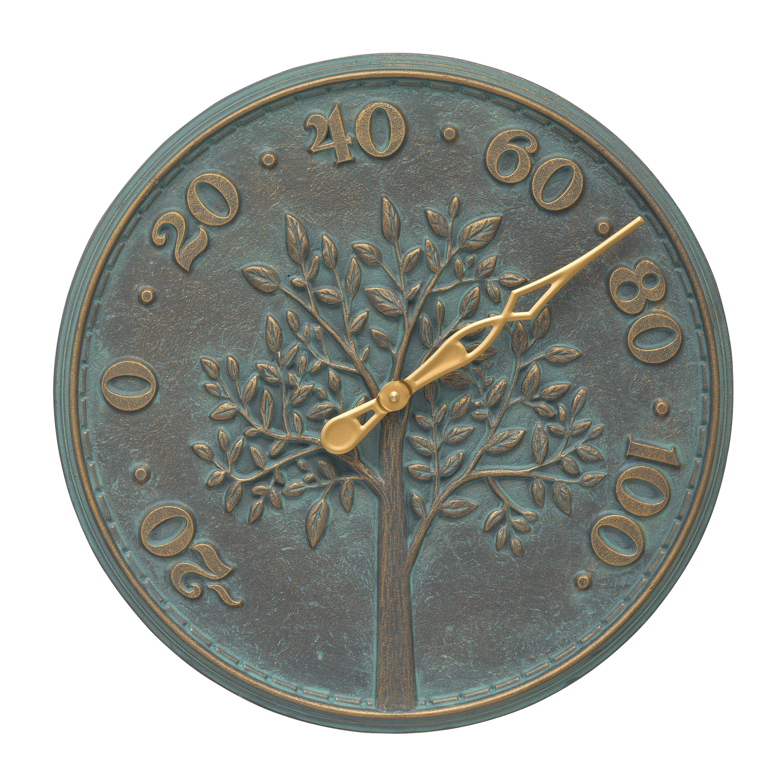 Bronze Verdigris: Tree Of Life Indoor/Outdoor Wall Thermometer