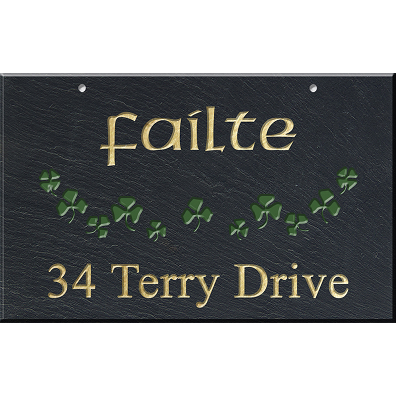 Shamrocks Hanging Slate Address Plaque 12 x 19