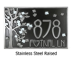 Blossom Tree Address Plaque, Rectangle, Wall and Lawn