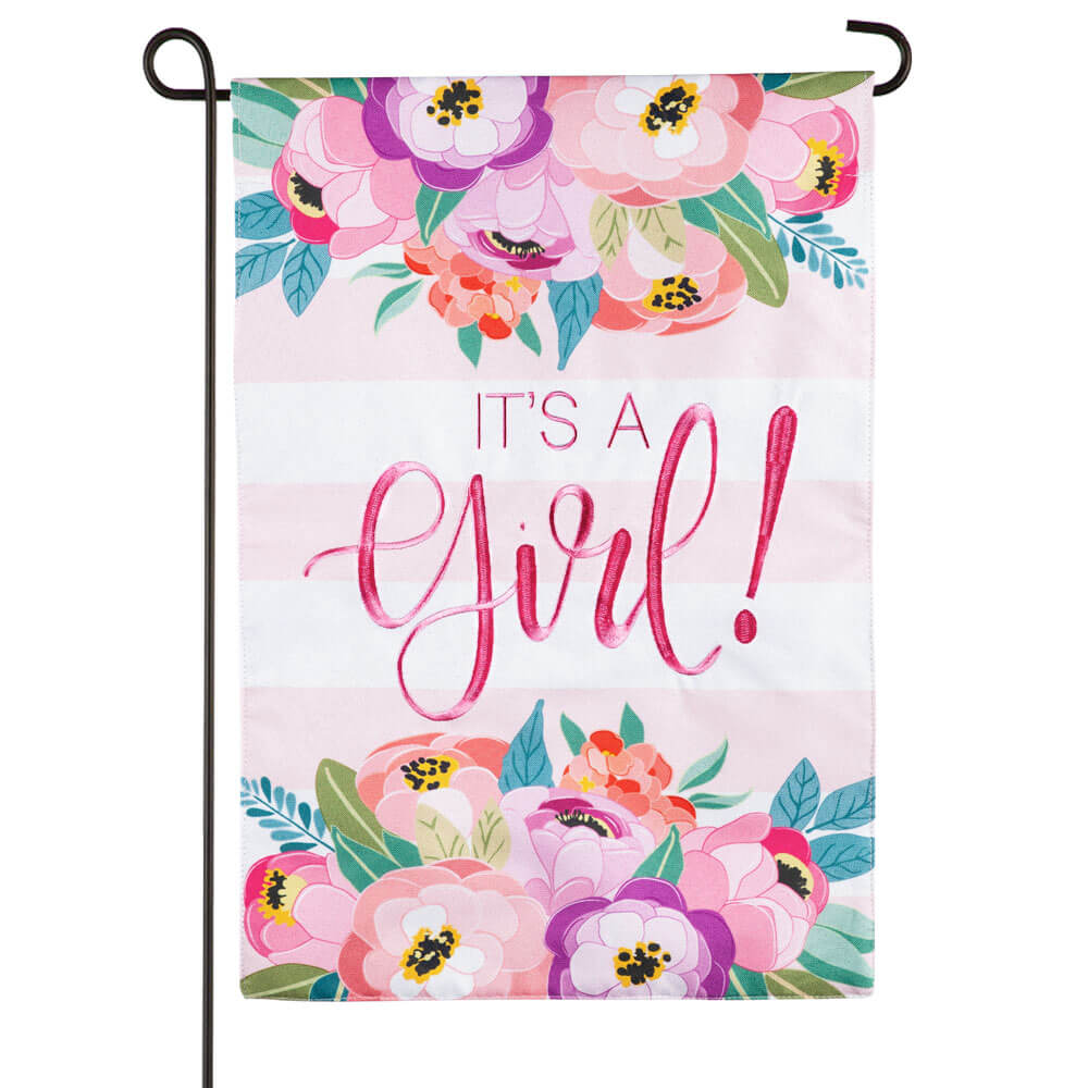 It's a Girl Linen Garden Flag (12-1/2 in. x 18 in.)