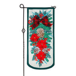 Holiday Floral Swag Extra Long Garden Banner