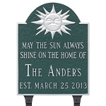 Home Established Lawn Plaque with Sun Theme