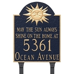 Home Address Plaque Sun Theme Lawn