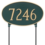 Two-Sided Oval Address Plaque Lawn Large 1 Line