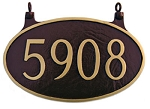 Two-Sided Oval Address Plaque Hanging