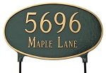 Two-Sided Oval Address Plaque Lawn Large 2 Line