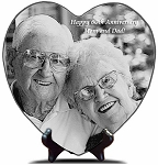 Engraved Photo on Marble 10 x 10 Heart