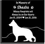 Pet Memorial Stone with Silhouette, Heart