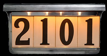 illuminated house number signs can be viewed from up america