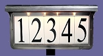 Solar Lawn Address Plaque Pewter