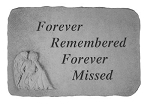 Memorial Stone - Forever Remembered..w/Kneeling Angel