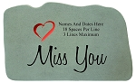 Miss You Personalized Memorial Stone With Colored Heart