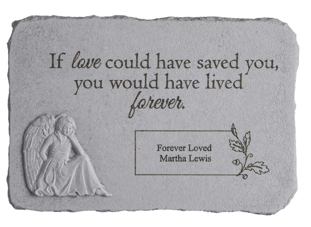 If Love Could Have Saved You Personalized Memorial Stone with Angel