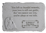 Personalized Memorial Stone with Angel - You Left Us Beautiful Memories, Cast Stone