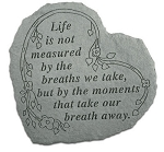 Life is Not Measured Garden Stone Heart