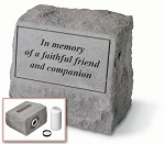 Pet Memorial Stone with Urn - In Memory Of A Faithful Friend