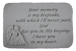 Memorial Stone Your memory Is My keepsake..w/Angel