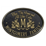 Bless This Home Monogram Oval Plaque Wall
