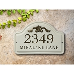 Ceramic Address Plaque Acanthus Wall 2 Line