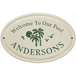 Welcome to Our Pool Ceramic Plaque Palm Trees 1 Line