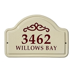 Ceramic Address Plaque Classic Scroll 2 Line