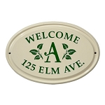 Ceramic Address Plaque Leaf Monogram 3 Line