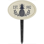 Ceramic Established Date Plaque Pineapple Lawn Style