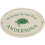 Welcome to Our Pool Ceramic Plaque Turtle