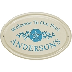 Welcome to Our Pool Ceramic Plaque Sand Dollar